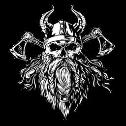 Calavera vikinga con hachas