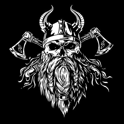 Cráneo vikingo con hachas