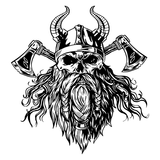 Viking skull with axes Transparent PNG