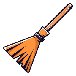 Witch broom cartoon icon