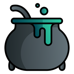 Witch cauldron cartoon icon