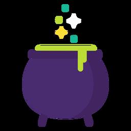 Witch cauldron flat halloween