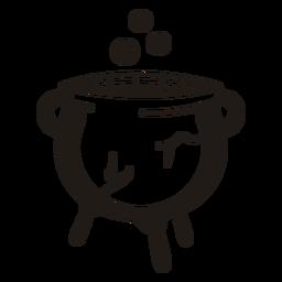 Silhueta desenhada à mão do caldeirão de bruxa