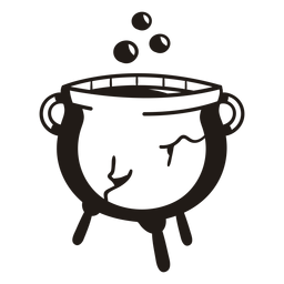 Witch cauldron hand drawn silhouette