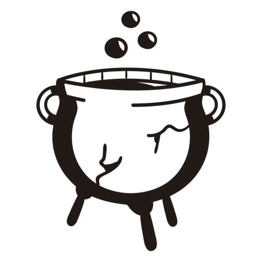 Caldero de bruja silueta dibujada a mano Transparent PNG