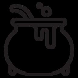 Icono de línea de caldero de bruja
