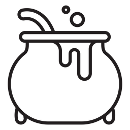 Witch cauldron line icon