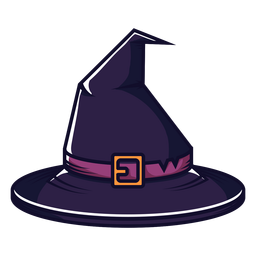 Desenho de vista frontal do chapéu de bruxa