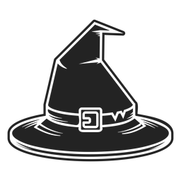 Ícone de vista frontal do chapéu de bruxa preto