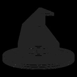 Icono de vista frontal de sombrero de bruja negro