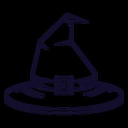 Línea de icono de vista frontal de sombrero de bruja