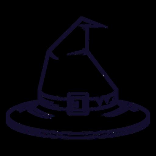 L?nea de icono de vista frontal de sombrero de bruja