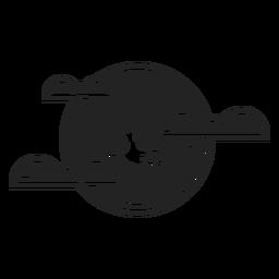 Bruja en luna llena icono negro