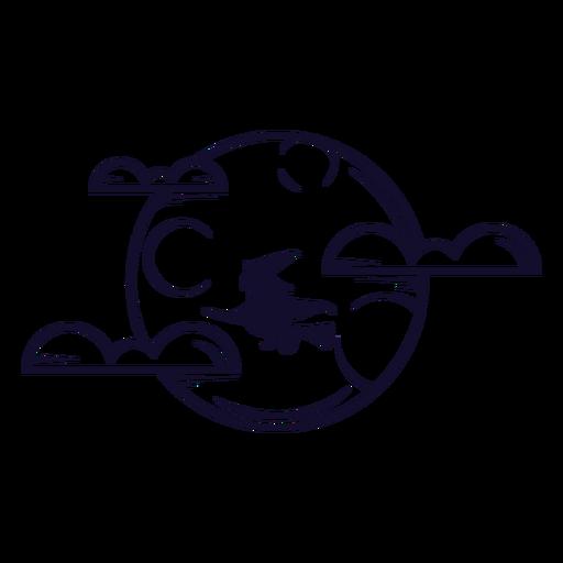 Bruja en línea de icono de luna llena Transparent PNG