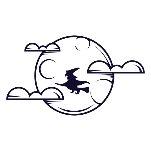 Witch on full moon icon line Transparent PNG