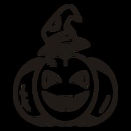 Silhueta desenhada de mão de abóbora de bruxa