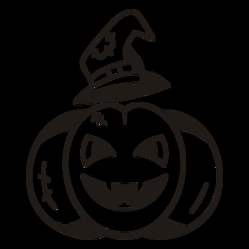 Witch pumpkin hand drawn silhouette