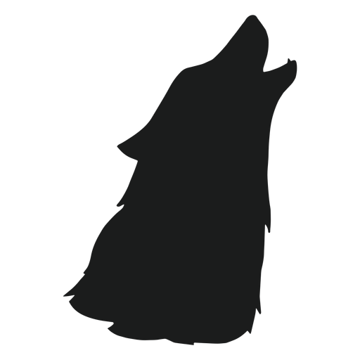 Wolf howling head silhouette
