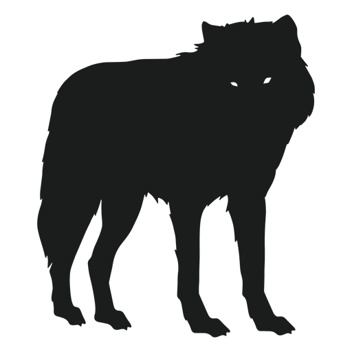 Wolf standing silhouette wolf