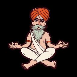Hombre de yoga con gafas de sol de dibujos animados