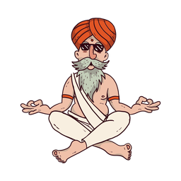 Yoga man with sunglasses cartoon