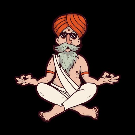 Hombre de yoga con dibujos animados de gafas de sol