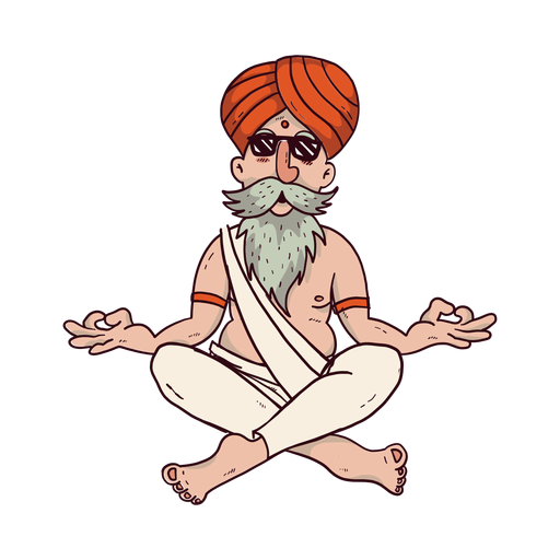 Yoga man with sunglasses cartoon Transparent PNG