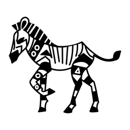 Cebra caminando elegante negro