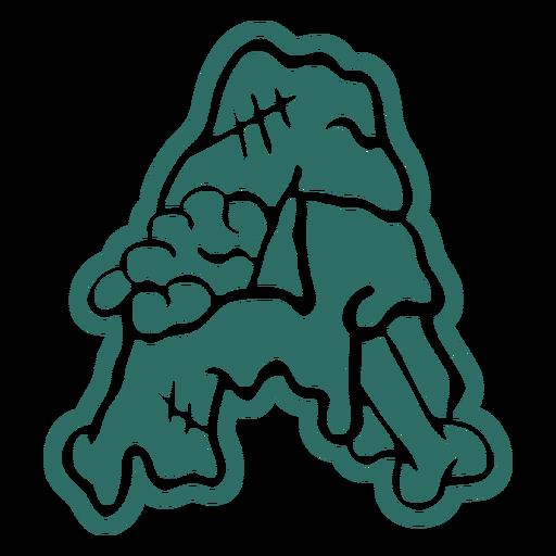 Zombie a letter sticker