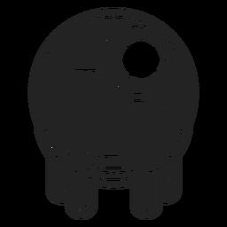 Ícone de globo ocular de zumbi preto