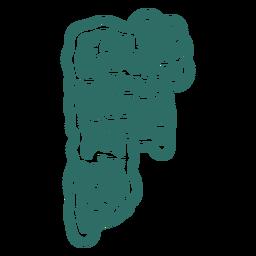 Adesivo de letra zumbi f