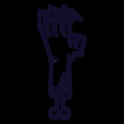 Línea de icono de mano Zombie