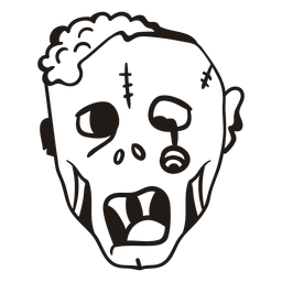 Cabeza de zombie silueta dibujada a mano
