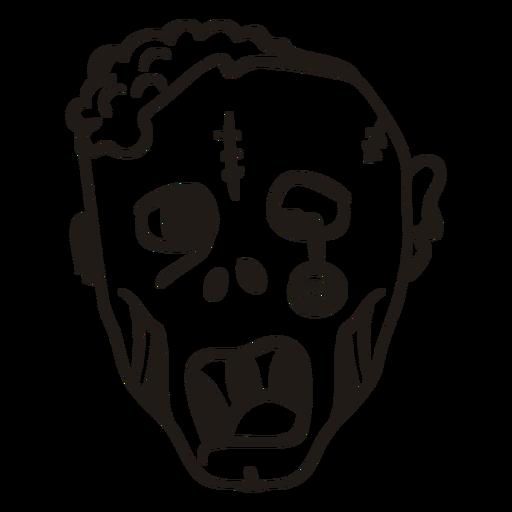 Zombie head hand drawn silhouette