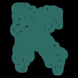 Zombie k letter sticker