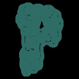 Zombie p letter sticker