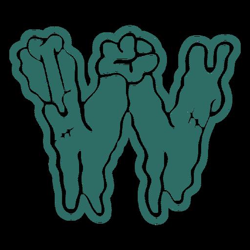 Zombie w letter sticker