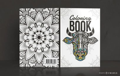 Design de capa de livro de colorir mandala