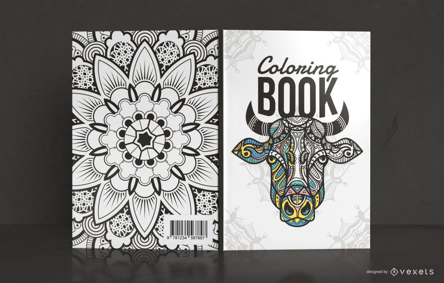Diseño de portada de libro para colorear Mandala