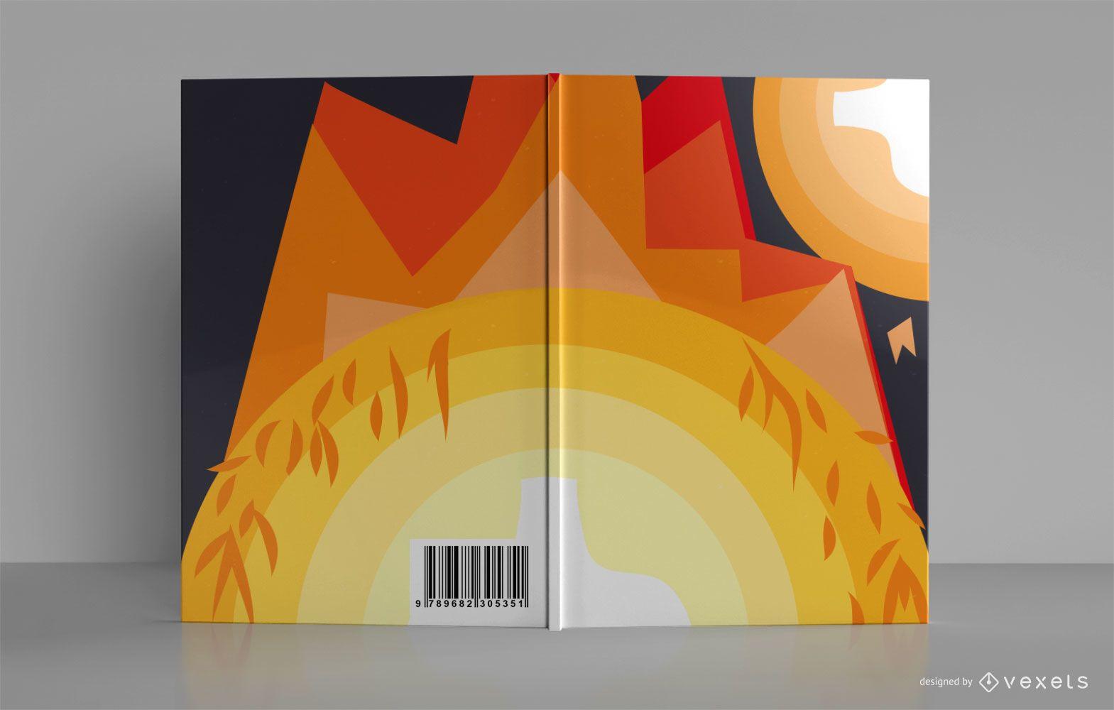 Diseño de portada de libro de cuaderno de bocetos de fogata al aire libre