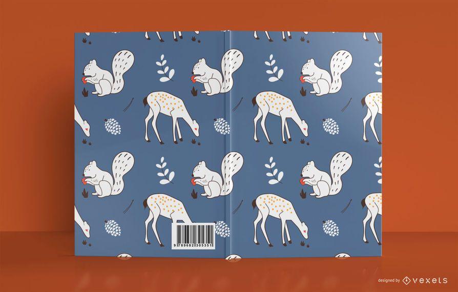 Design da capa do livro de animais da floresta