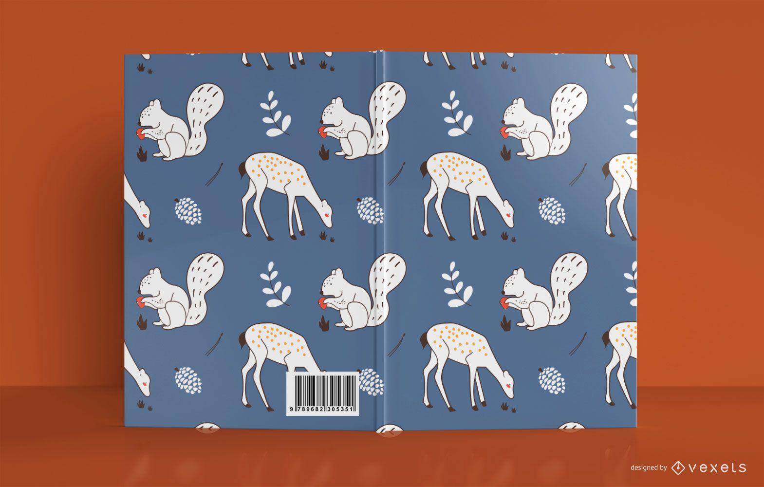 Diseño de portada de libro de animales del bosque