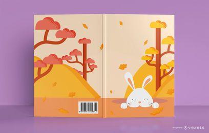 Diseño lindo de la cubierta del libro del conejito