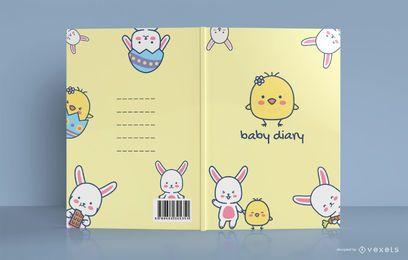 Lindo diseño de portada de libro de diario de bebé de pollo