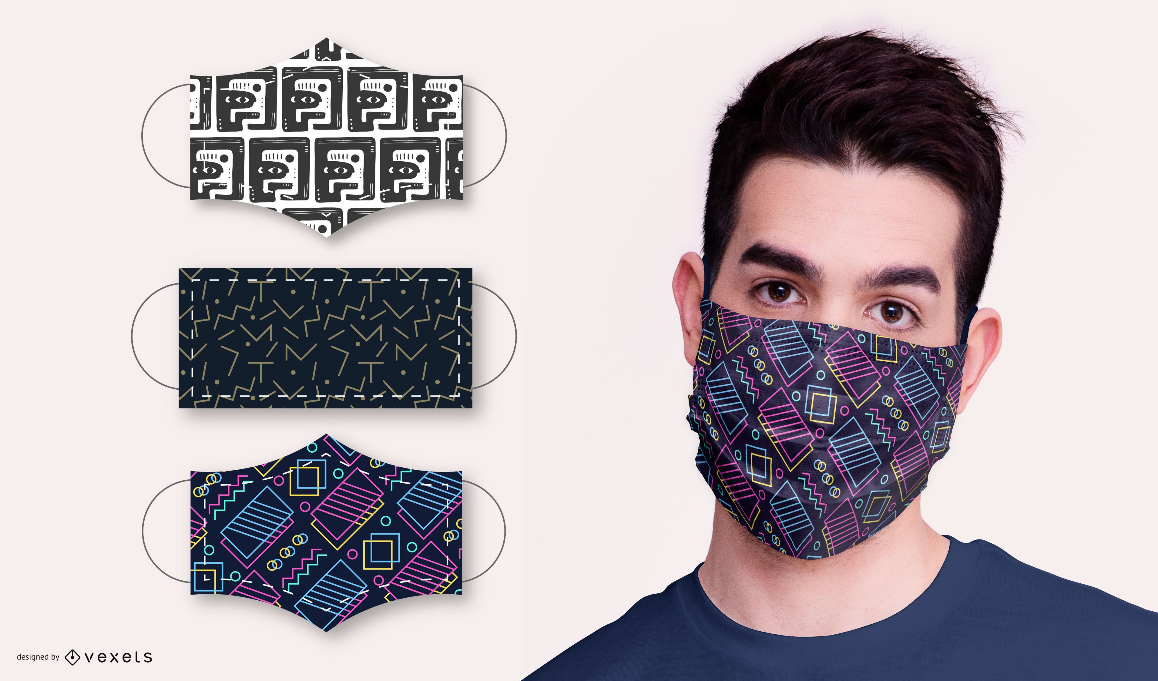 Abstract Pattern Face Mask Design Pack - Vector Download