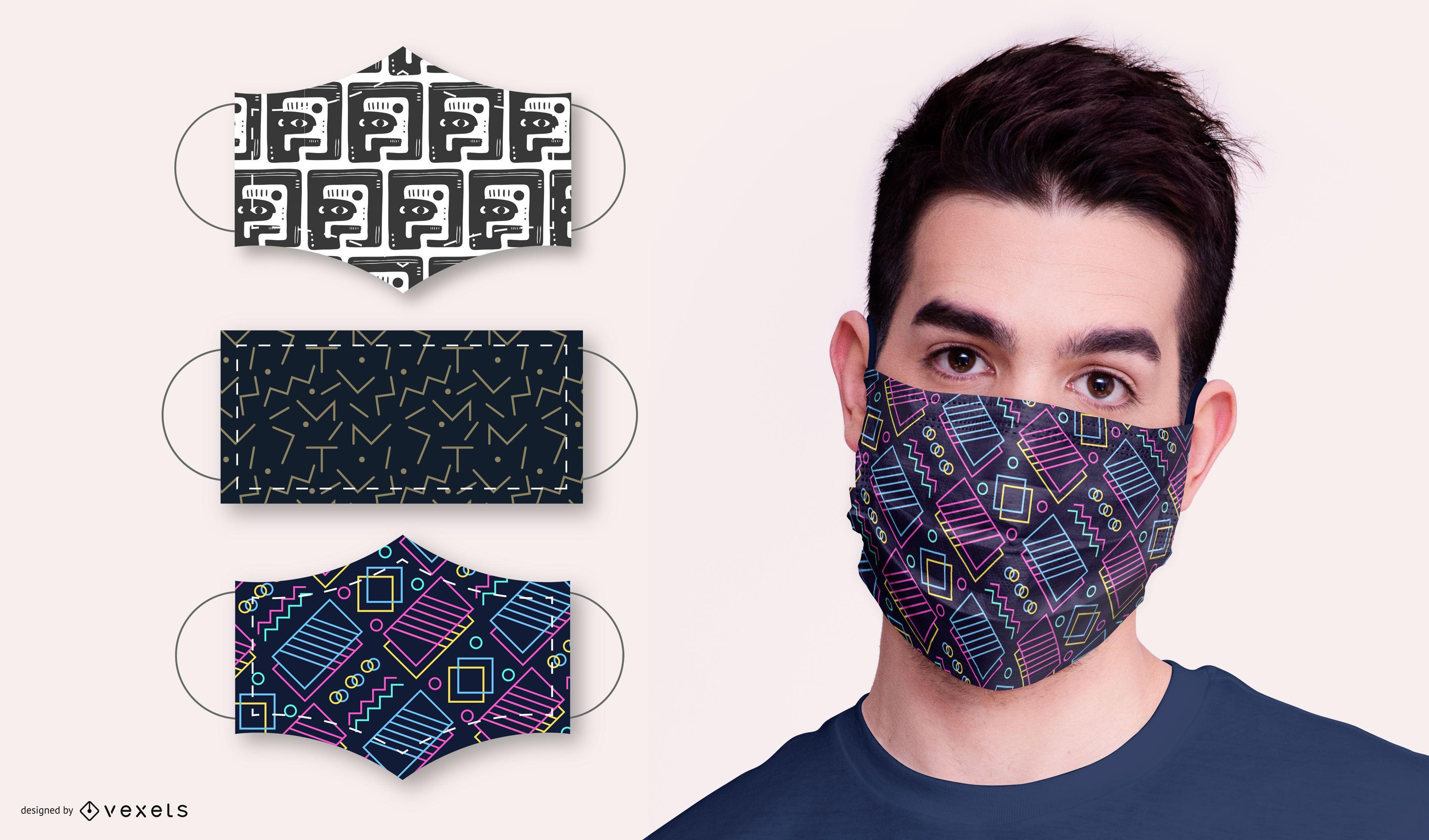 Pacote de design de máscara facial de padrão abstrato