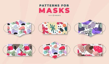 Pacote de design de máscara facial em estilo pastel