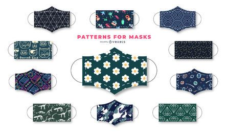 Dunkle Muster-Gesichtsmasken-Design-Sammlung
