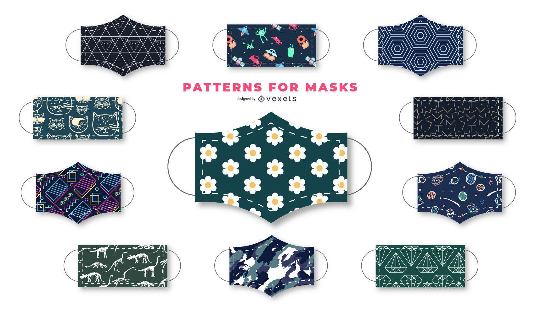 Colección de diseño de máscara facial de patrón oscuro