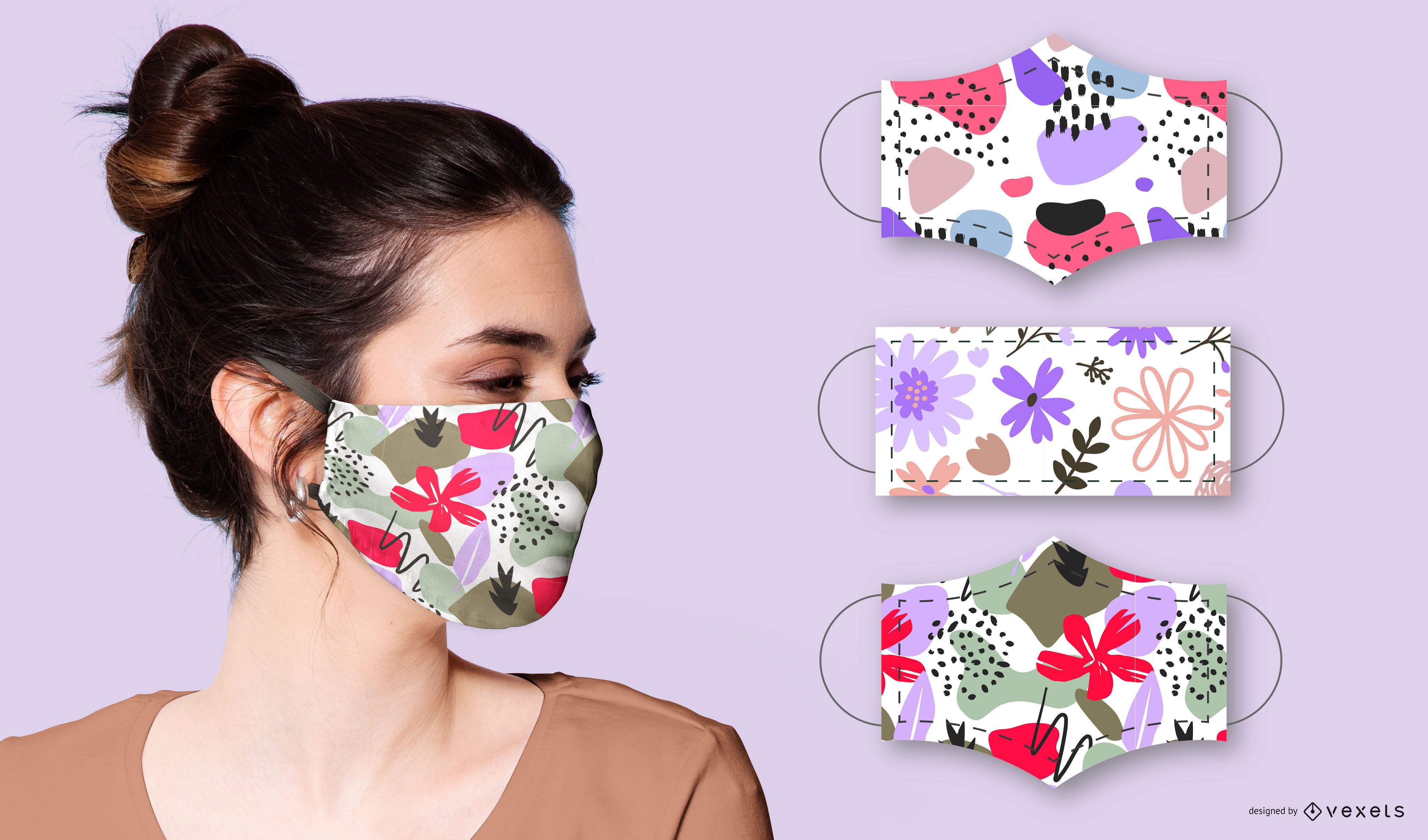 Flora Abstract Face Mask Design Pack